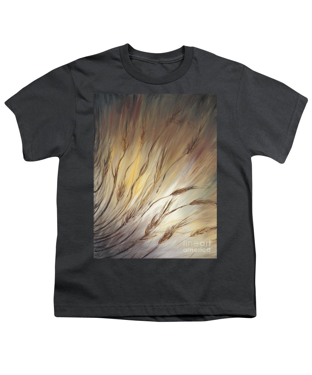 Wheat Youth T-Shirt featuring the painting Wheat In The Wind by Nadine Rippelmeyer