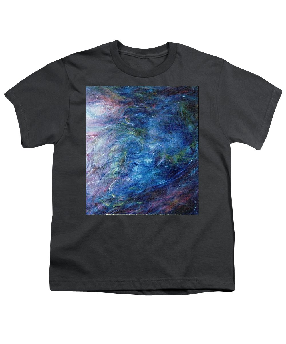 Abstract Youth T-Shirt featuring the painting Whispers In A Sea Of Blue by Nancy Mueller