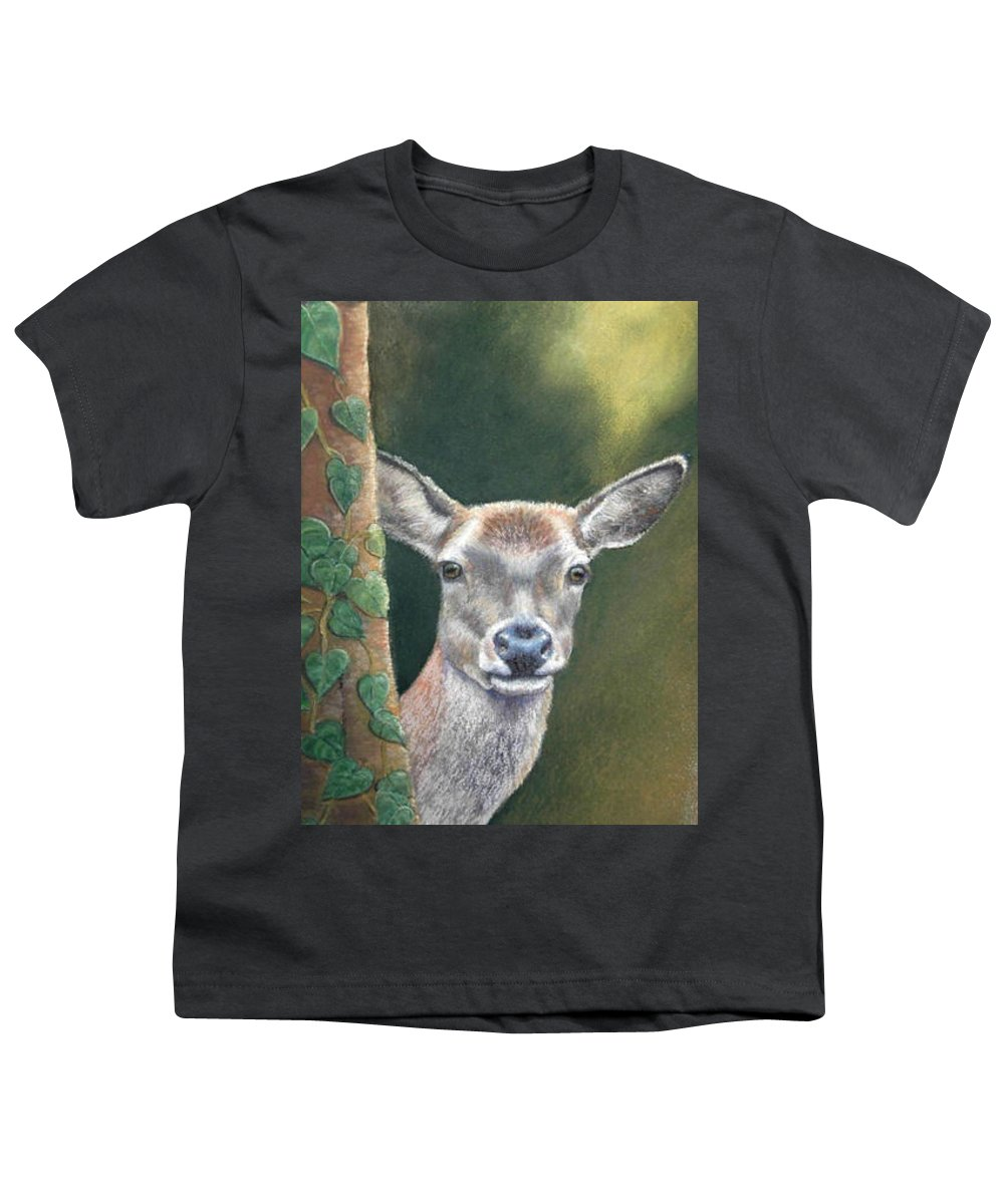 Rainforest Youth T-Shirt featuring the painting White Tail Doe At Ancon Hill by Ceci Watson