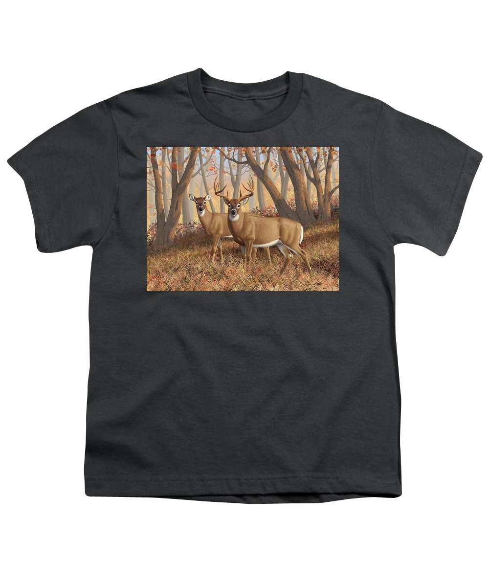 Deers Youth T-Shirt featuring the painting Whitetail Deer Painting - Fall Flame by Crista Forest