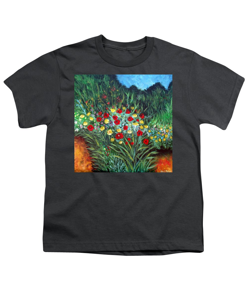 Abstract Youth T-Shirt featuring the painting Wildflower Garden 1 by Nancy Mueller