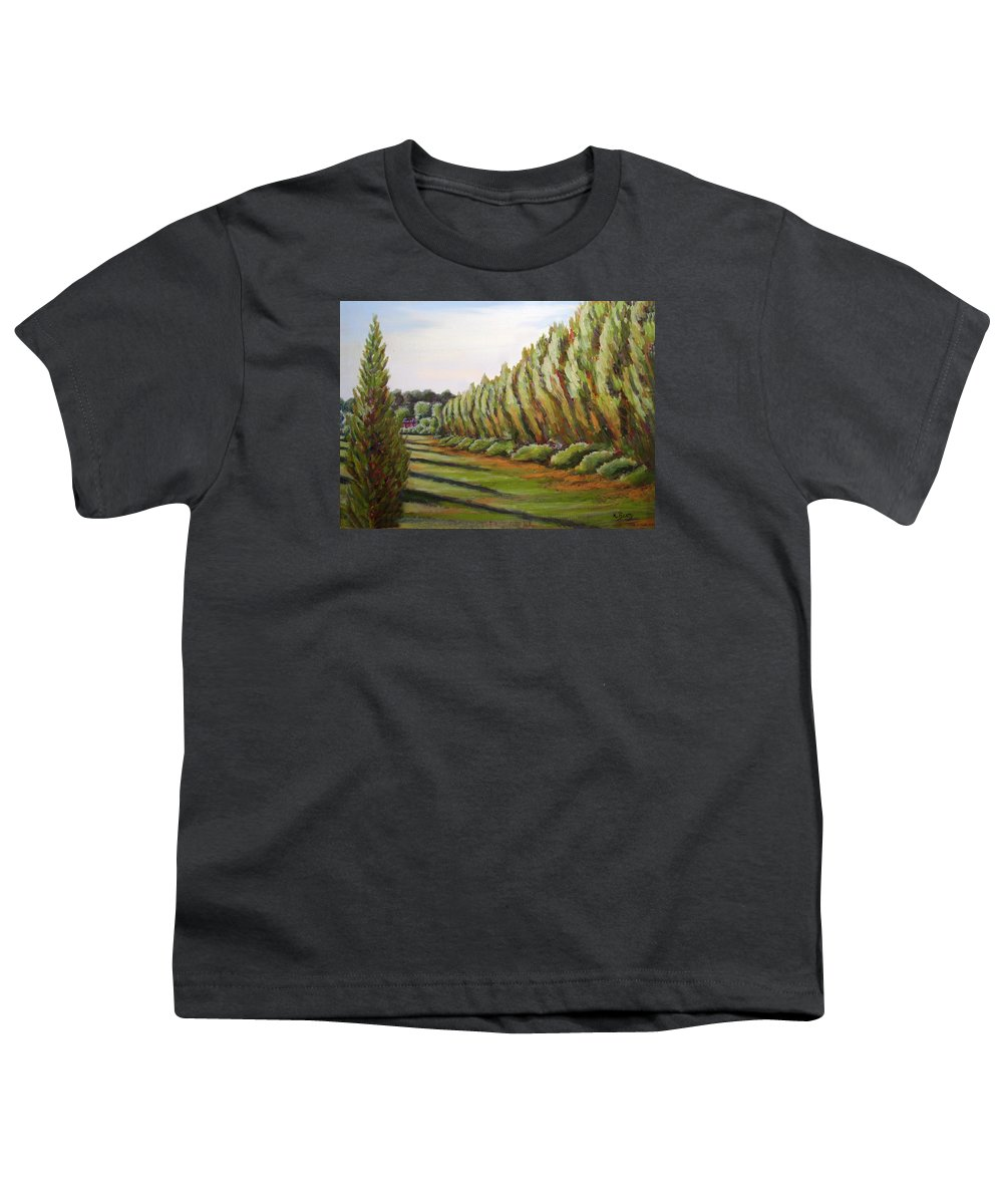 Oil Painting Youth T-Shirt featuring the painting Windbreak Evening by Karla Beatty