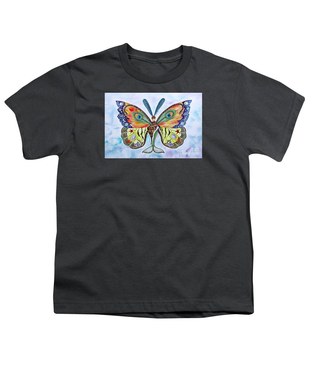 Butterfly Youth T-Shirt featuring the painting Winged Metamorphosis by Lucy Arnold