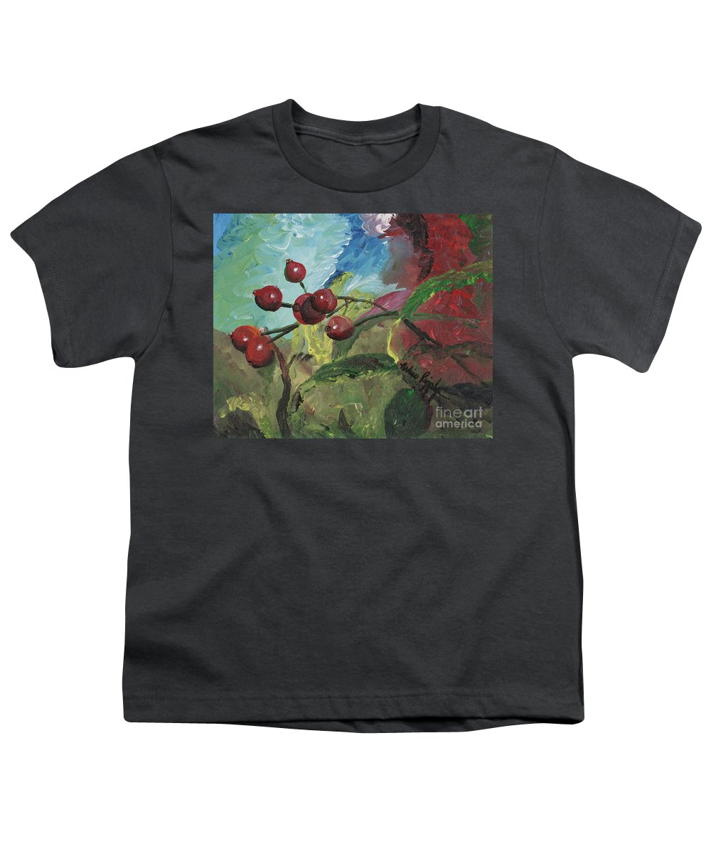 Berries Youth T-Shirt featuring the painting Winter Berries by Nadine Rippelmeyer