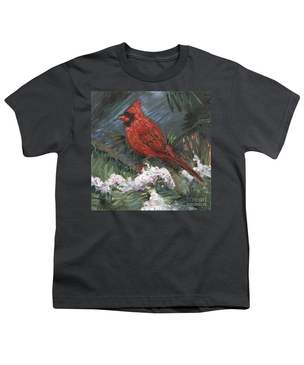 Bird Youth T-Shirt featuring the painting Winter Cardinal by Nadine Rippelmeyer