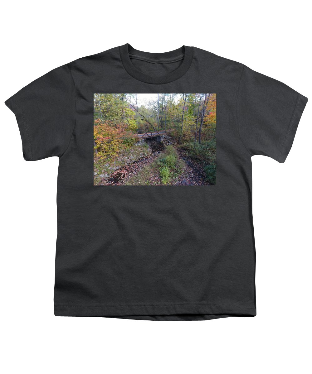 Drone Photo Of An Abandoned Bridge. Youth T-Shirt featuring the photograph Abandoned Bridge by Jedidiah Thone