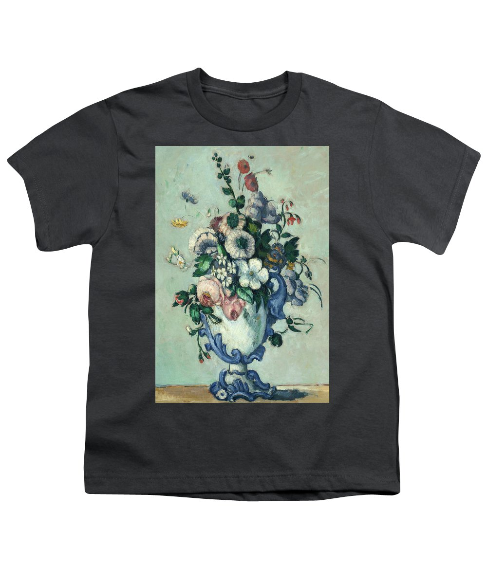 Paul Cezanne Youth T-Shirt featuring the painting Flowers In A Rococo Vase, Circa 1876 by Paul Cezanne