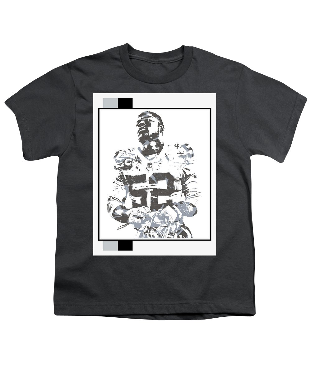 Khalil Mack Youth T-Shirt featuring the mixed media Khalil Mack Oakland Raiders Pixel Art 35 by Joe Hamilton