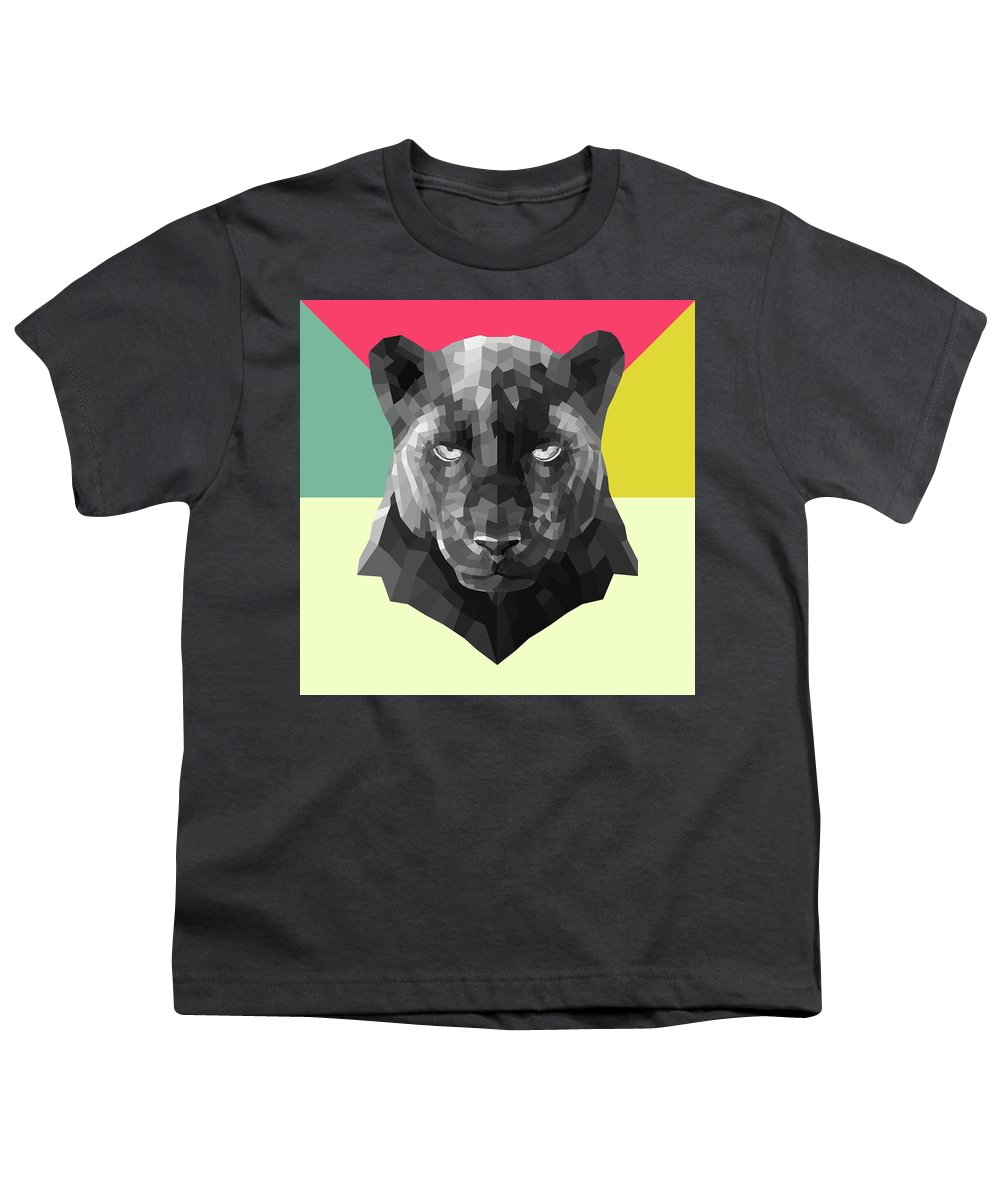 Youth T-Shirt featuring the digital art Party Panther by Naxart Studio