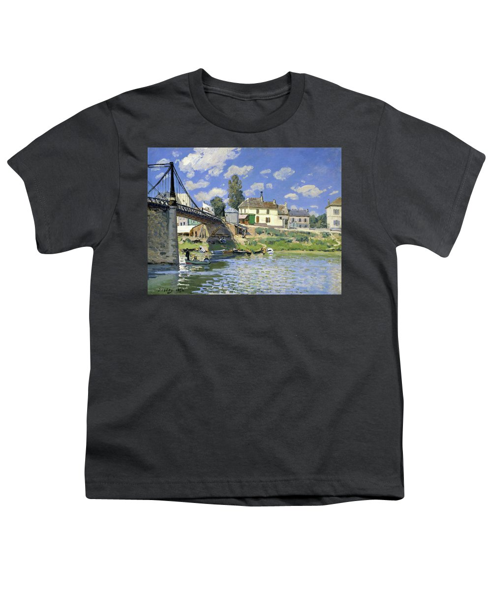 Alfred Sisley Youth T-Shirt featuring the painting The Bridge At Villeneuve-la-garenne - Digital Remastered Edition by Alfred Sisley