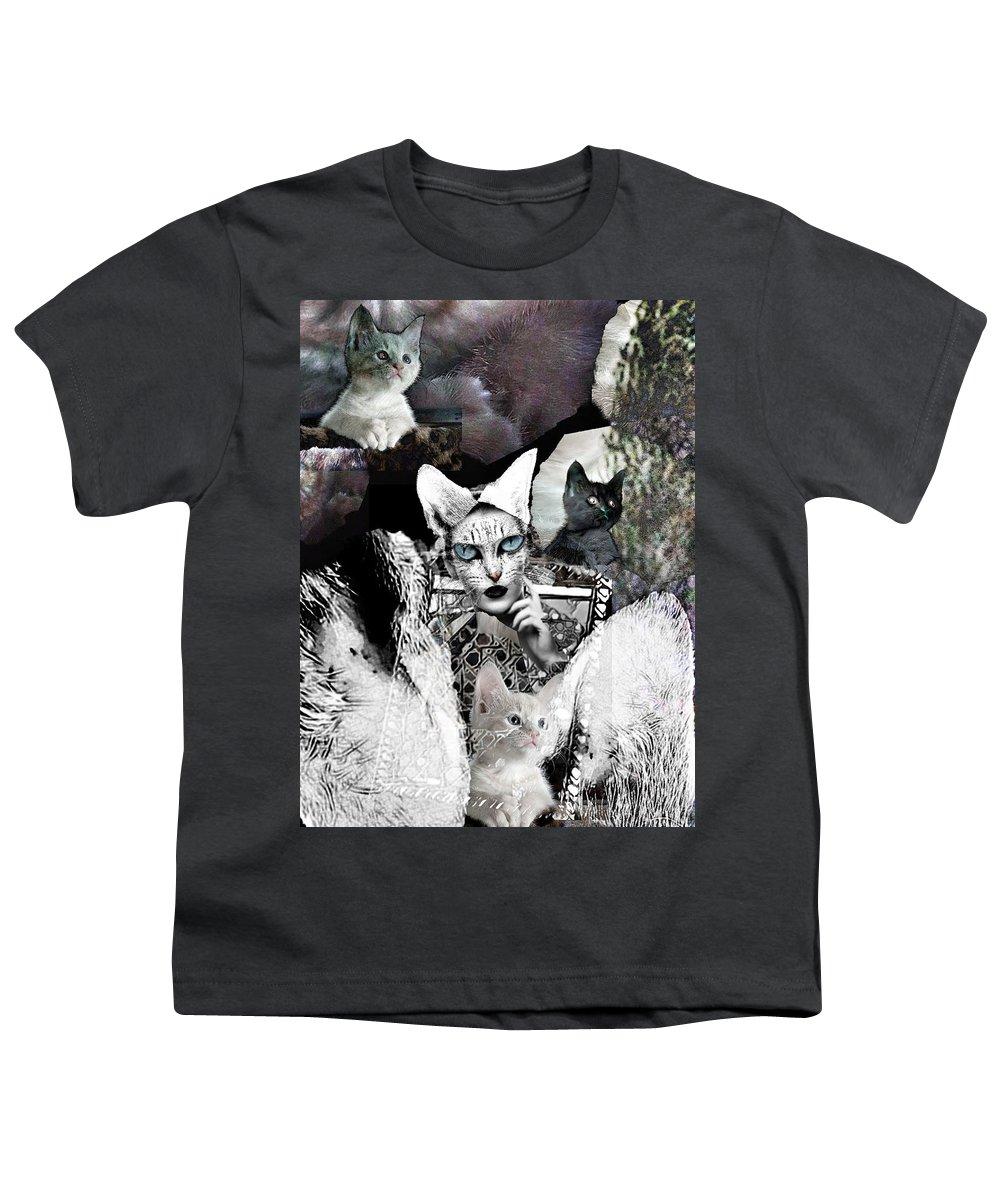 Surrealism Youth T-Shirt featuring the digital art Catwoman by Gunilla Munro Gyllenspetz