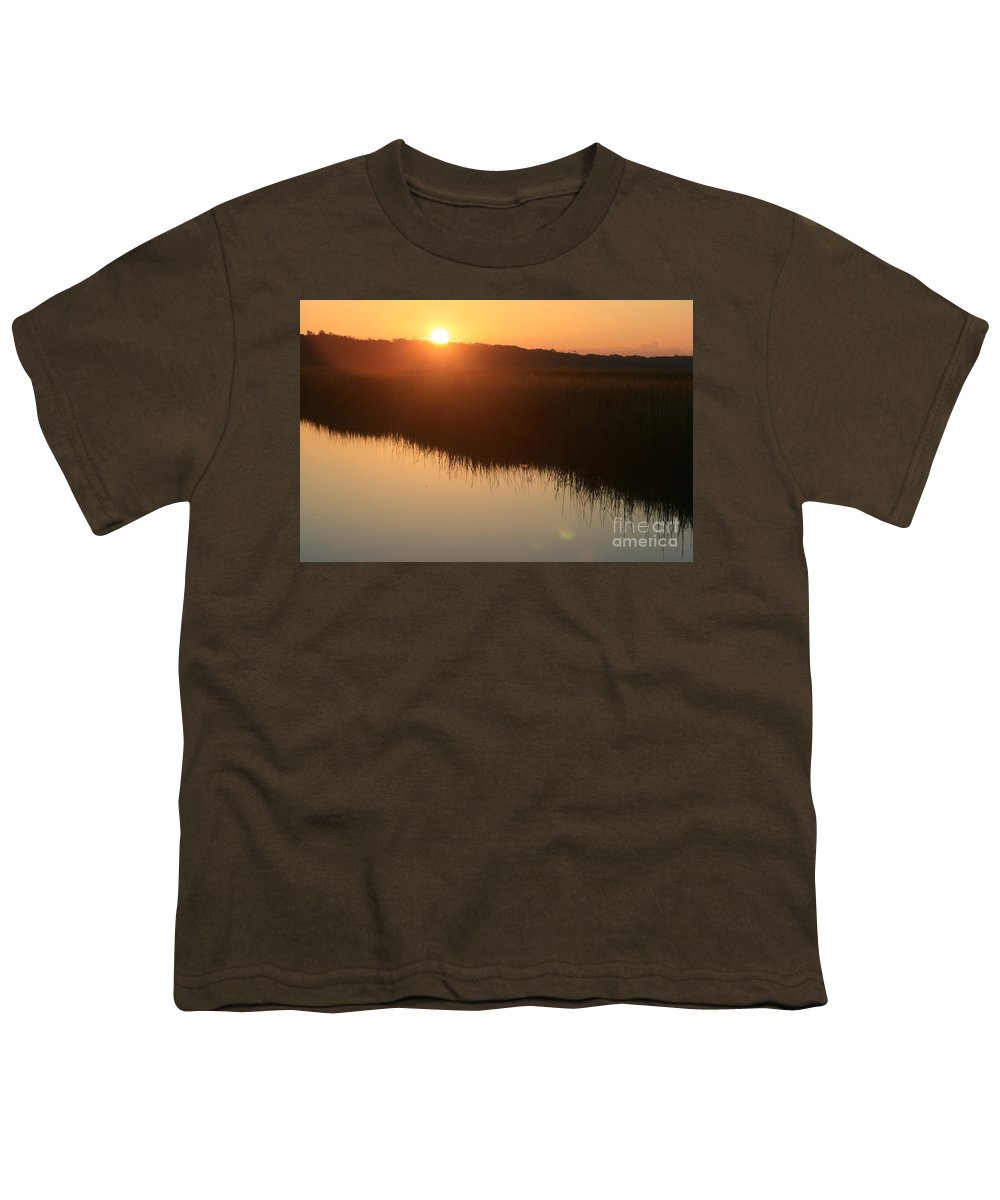 Sunrise Youth T-Shirt featuring the photograph Autumn Sunrise Over The Marsh by Nadine Rippelmeyer