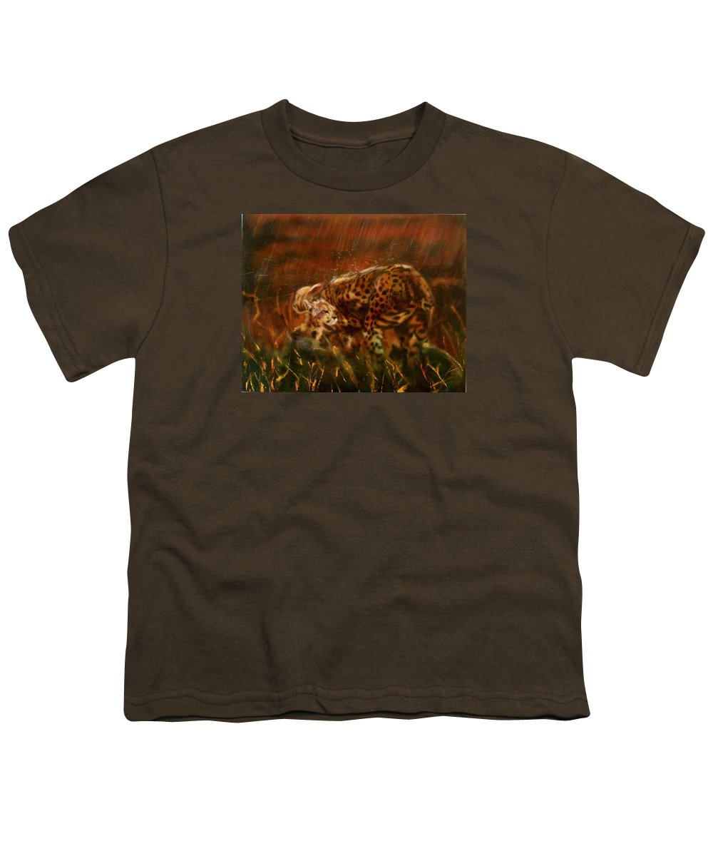 Rain;water;cats;africa;wildlife;animals;mother;shelter;brush;bush Youth T-Shirt featuring the painting Cheetah Family After The Rains by Sean Connolly