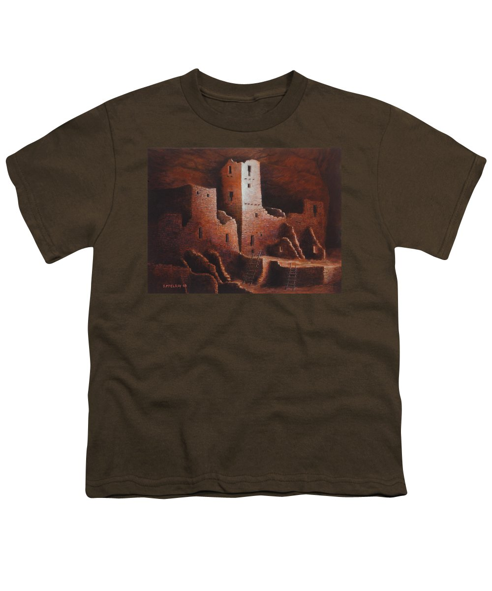 Anasazi Youth T-Shirt featuring the painting Cliff Palace by Jerry McElroy