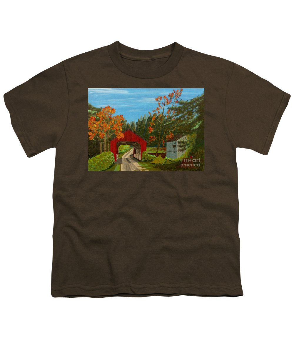 Path Youth T-Shirt featuring the painting Covered Bridge by Anthony Dunphy