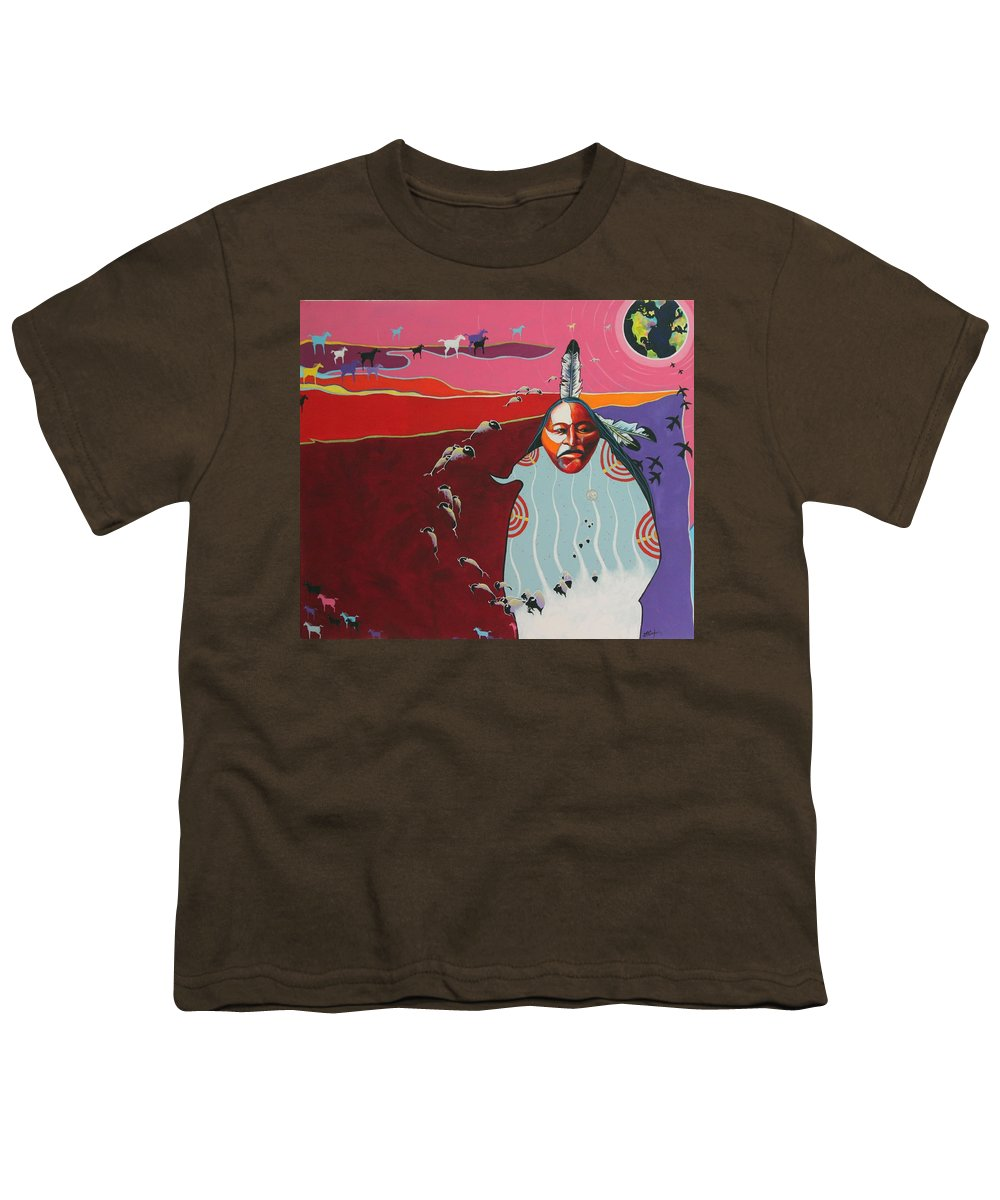 Native American Youth T-Shirt featuring the painting Creation by Joe Triano