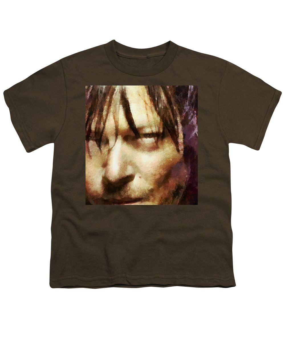 Daryl Dixon Youth T-Shirt featuring the painting Detail Of Daryl Dixon by Janice MacLellan
