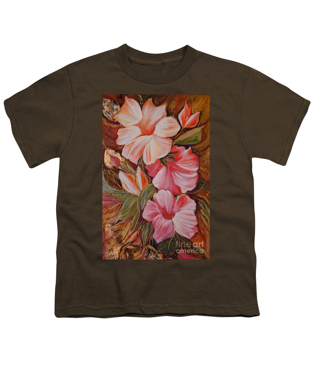 Modern Art Youth T-Shirt featuring the painting Flowers II by Silvana Abel