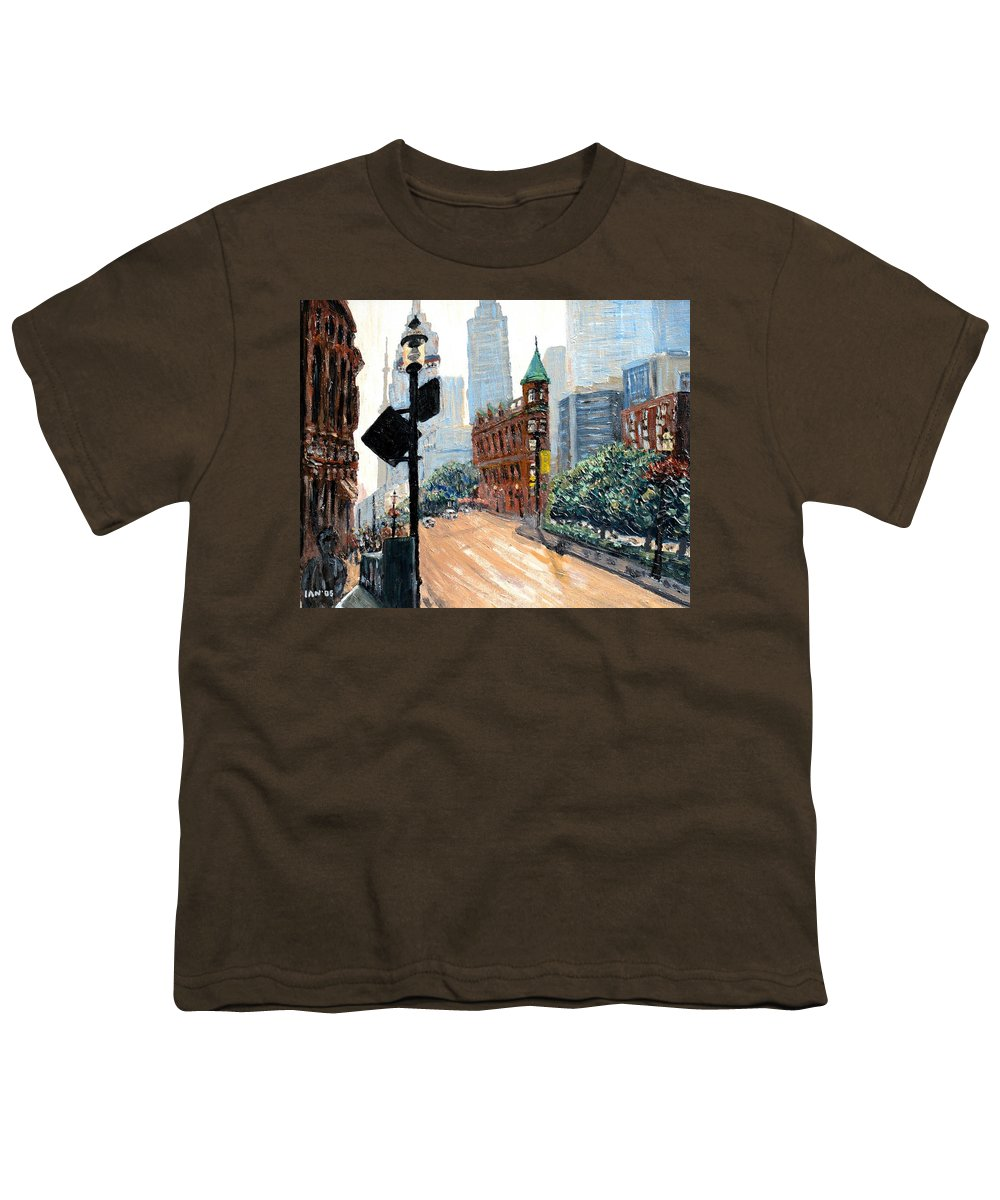 Toronto Youth T-Shirt featuring the painting Front And Church by Ian MacDonald