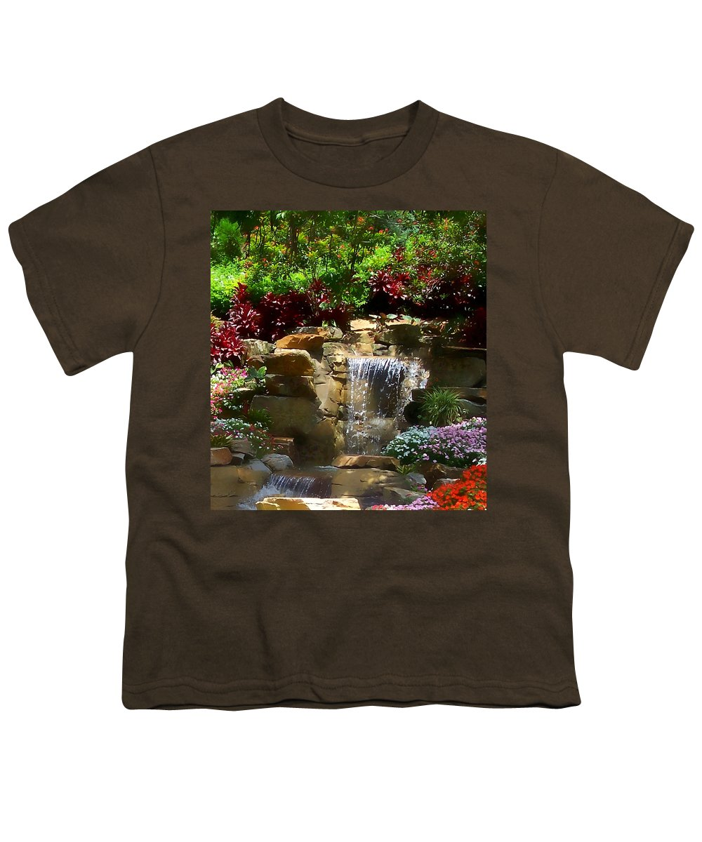 Garden Youth T-Shirt featuring the photograph Garden Waterfalls by Pharris Art