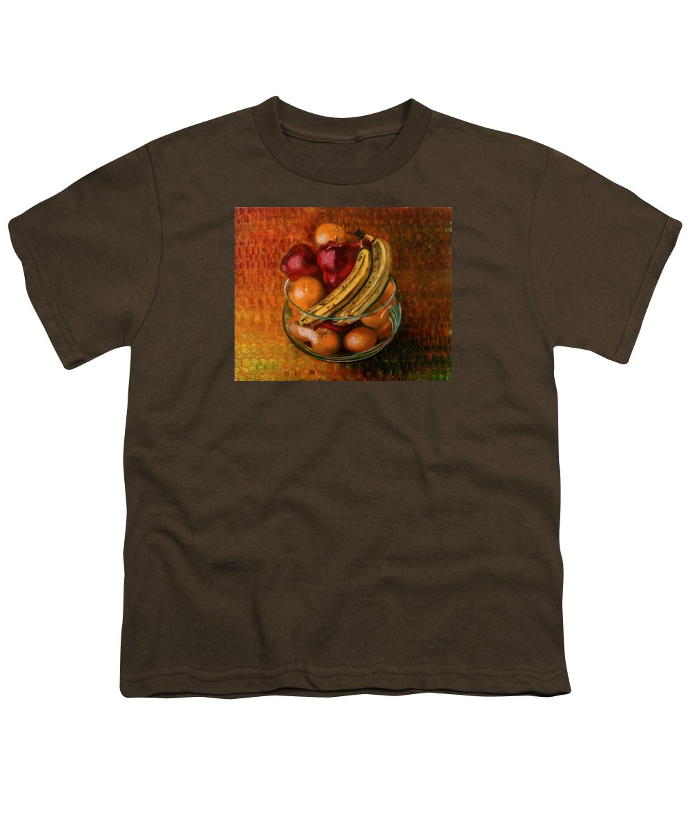 Still Life Youth T-Shirt featuring the painting Glass Bowl Of Fruit by Sean Connolly