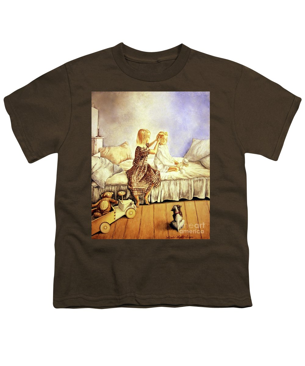 Animals Youth T-Shirt featuring the painting Hands Of Devotion - Childhood by Linda Simon