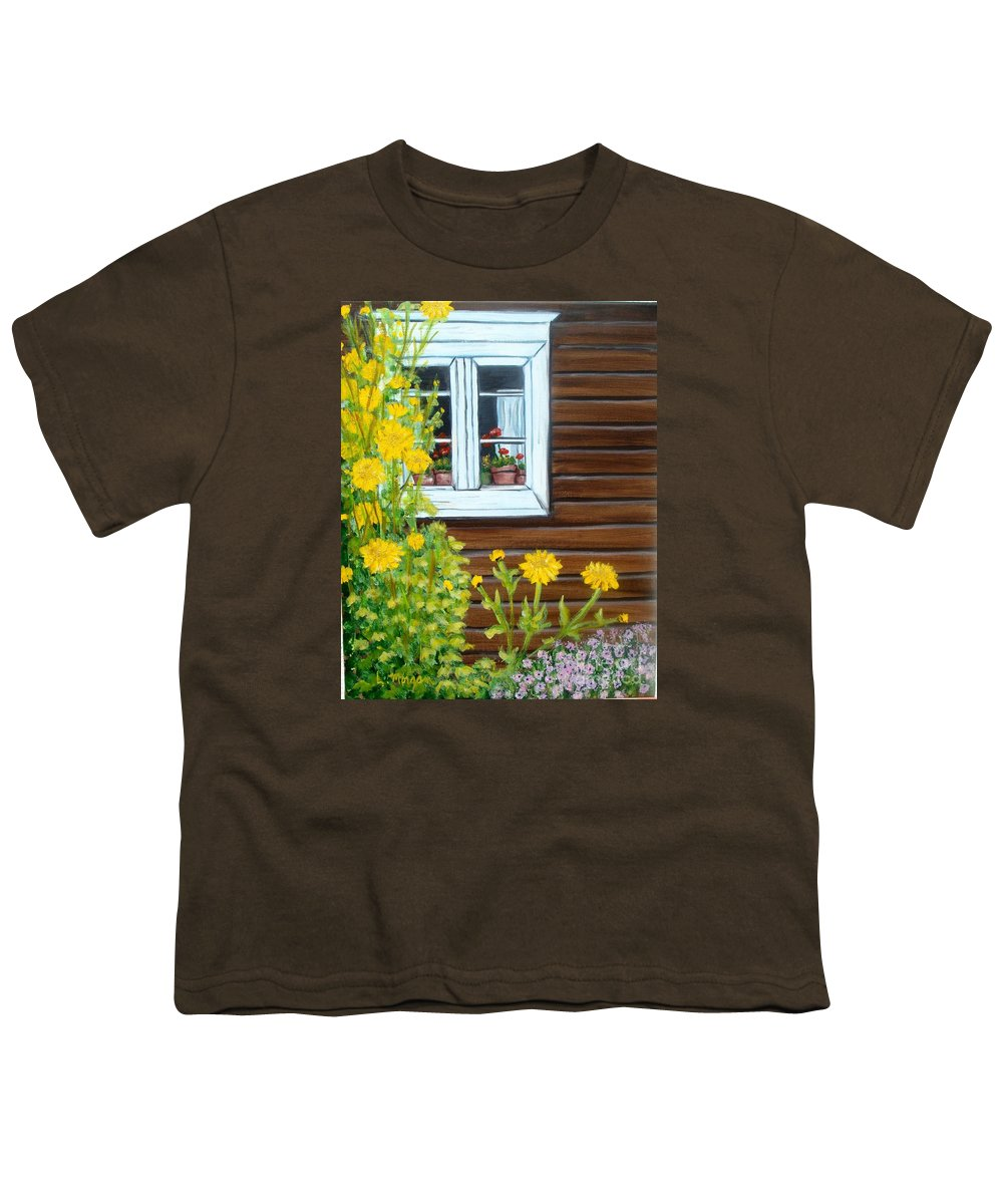 Window Youth T-Shirt featuring the painting Happy Homestead by Laurie Morgan