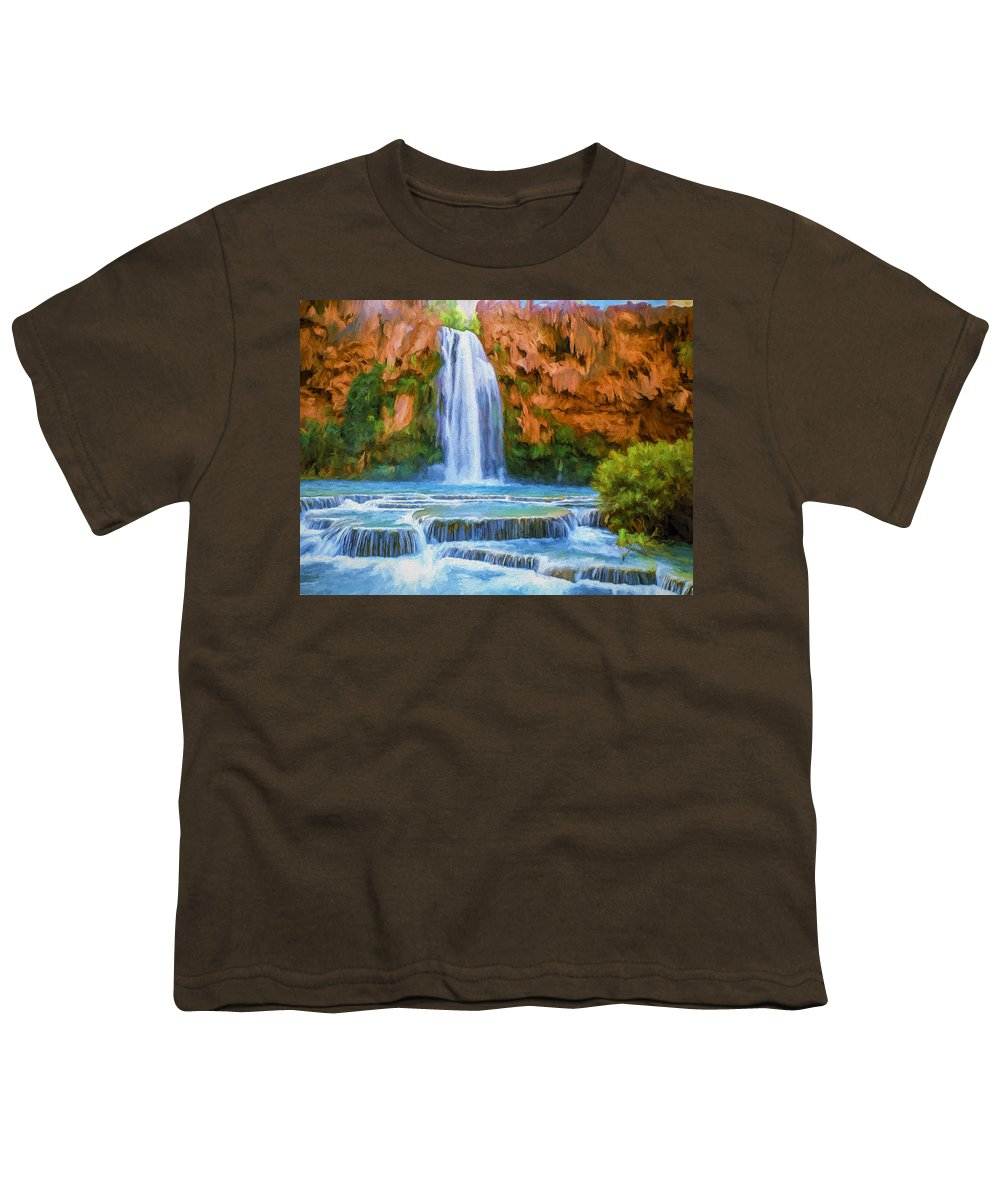 Fine Art Youth T-Shirt featuring the painting Havasu Falls by David Wagner