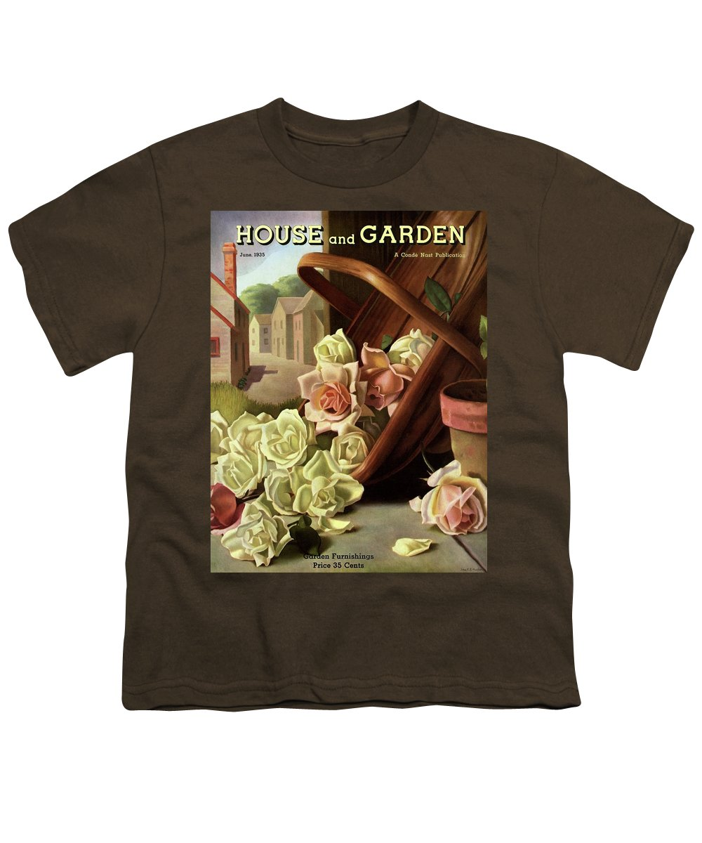 House And Garden Youth T-Shirt featuring the photograph House And Garden Cover Of An Upturned Basket by John C. E. Taylor