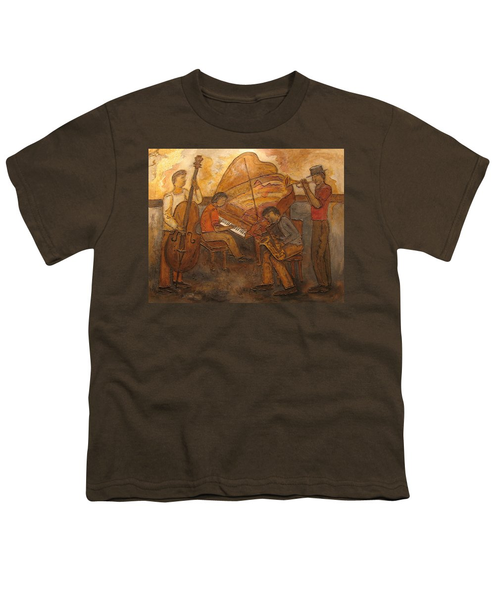 Impressionist Youth T-Shirt featuring the painting Jazz Quartet by Anita Burgermeister