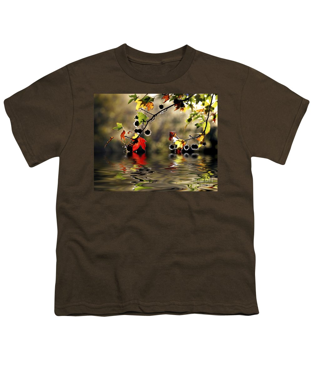Liquidambar Maple Autumn Fall Flood Water Reflection Youth T-Shirt featuring the photograph Liquidambar In Flood by Sheila Smart Fine Art Photography