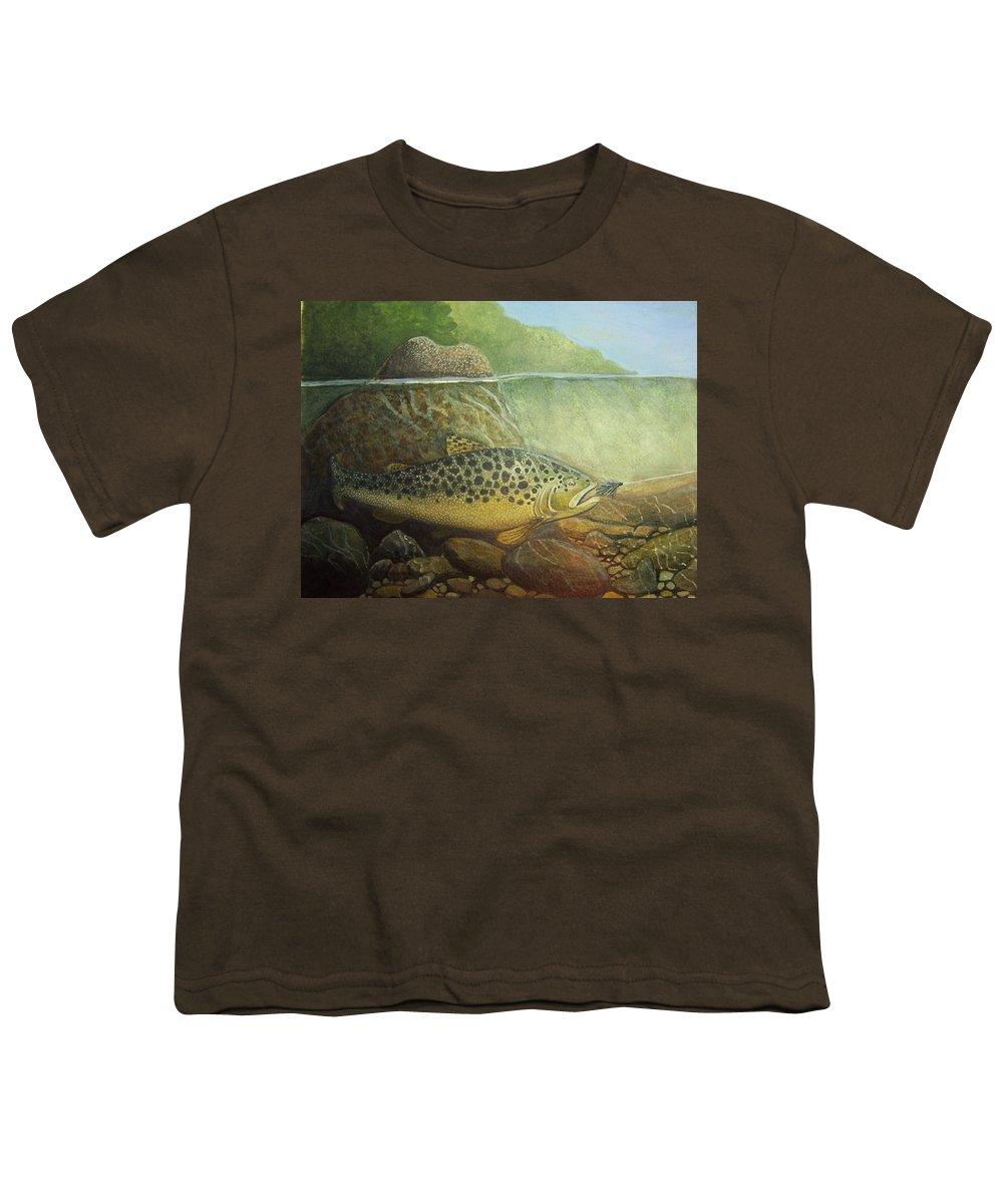 Rick Huotari Youth T-Shirt featuring the painting Lurking by Rick Huotari