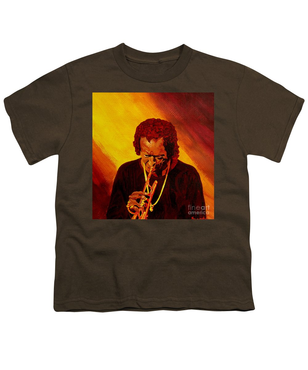 Miles Davis Youth T-Shirt featuring the painting Miles Davis Jazz Man by Anthony Dunphy