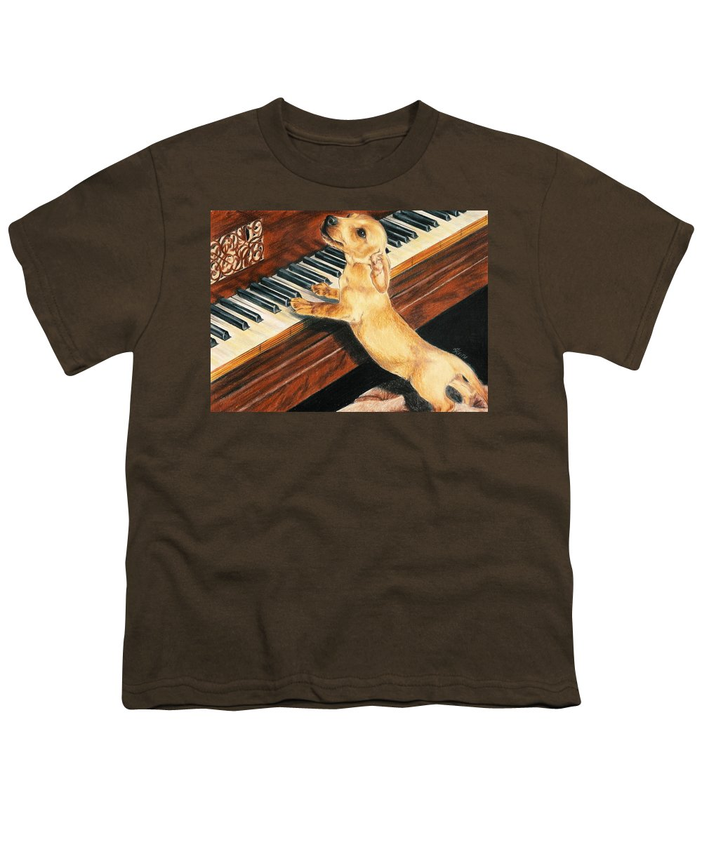 Dogs Youth T-Shirt featuring the drawing Mozart's Apprentice by Barbara Keith