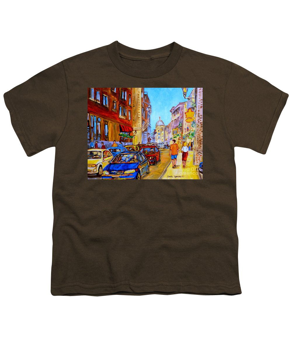 Old Montreal Street Scenes Youth T-Shirt featuring the painting Old Montreal by Carole Spandau
