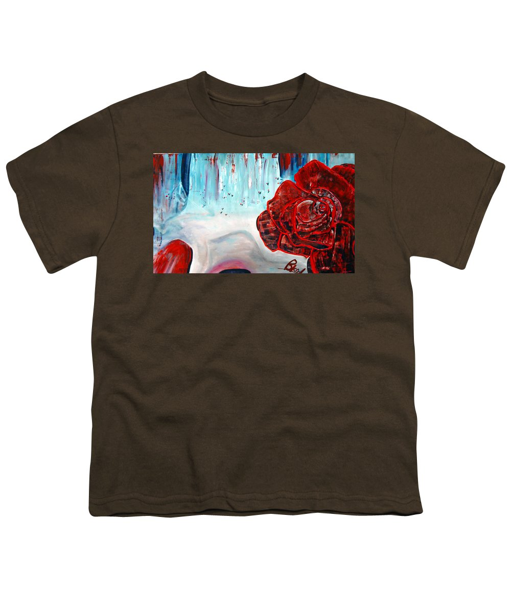 Landscape Youth T-Shirt featuring the painting Op And Rose by Peggy Blood