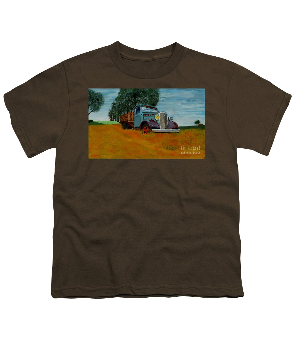 Truck Youth T-Shirt featuring the painting Out To Pasture by Anthony Dunphy