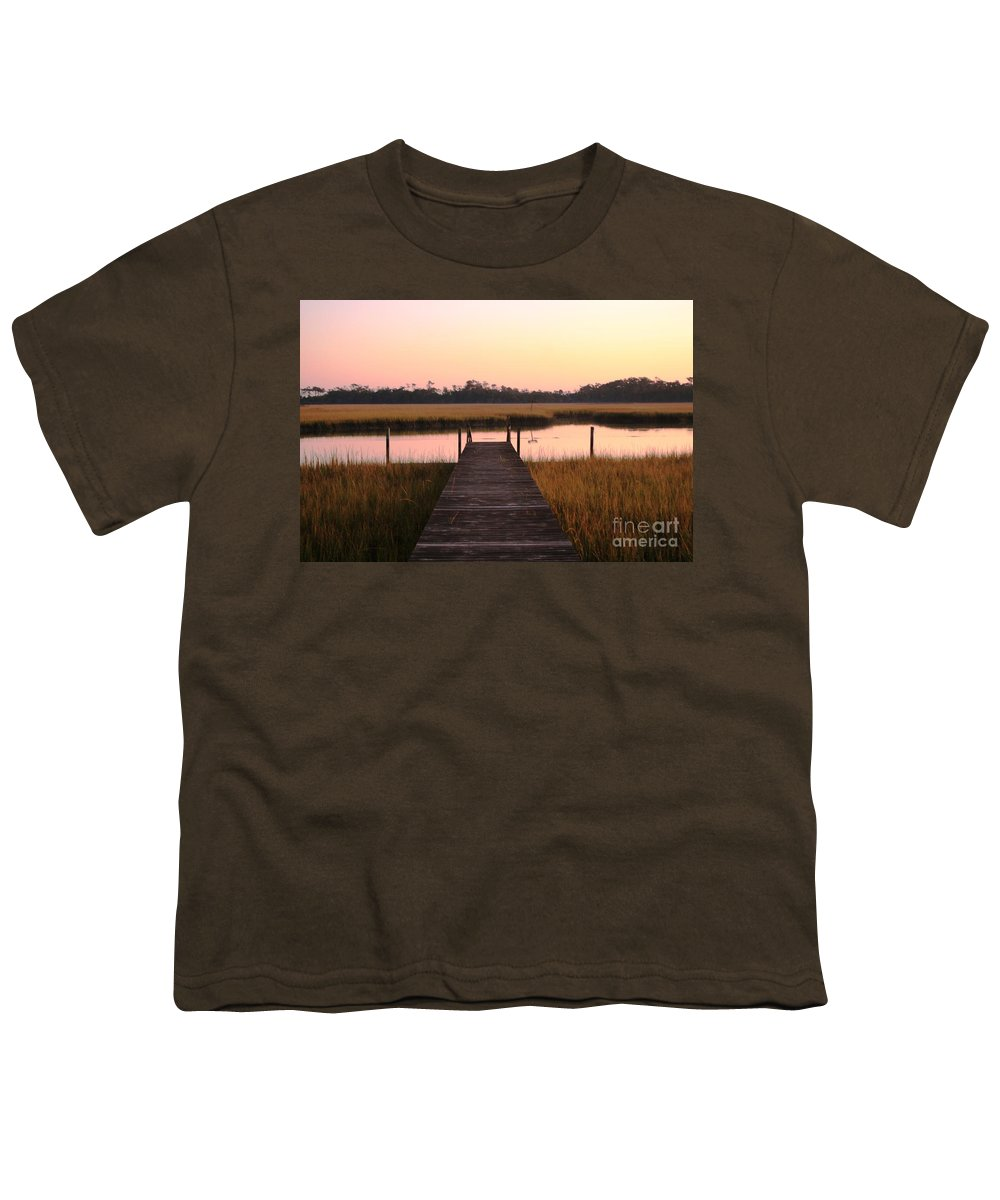 Pink Youth T-Shirt featuring the photograph Pink And Orange Morning On The Marsh by Nadine Rippelmeyer