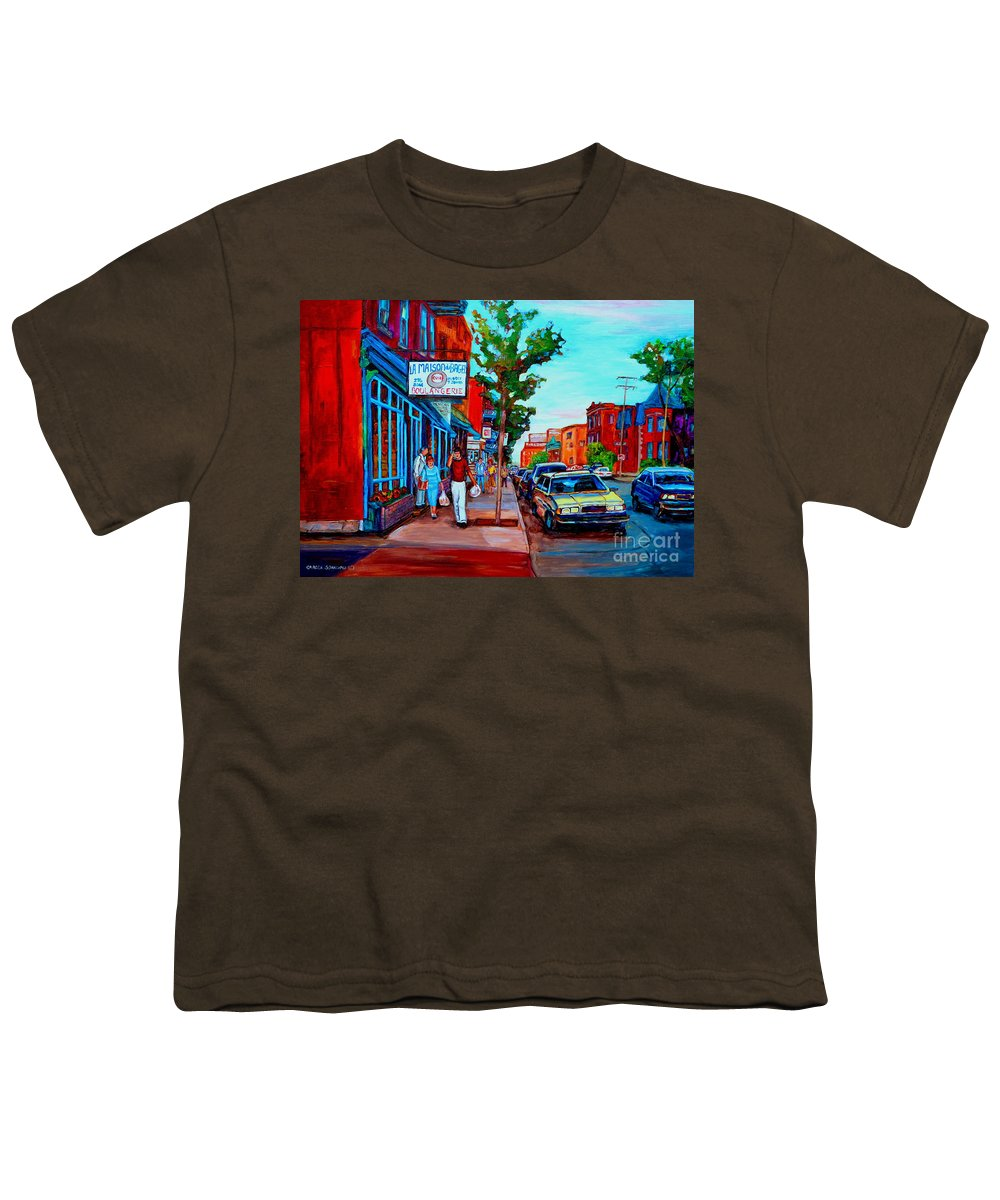 St.viateur Bagel Shop Youth T-Shirt featuring the painting Saint Viateur Bagel Shop by Carole Spandau