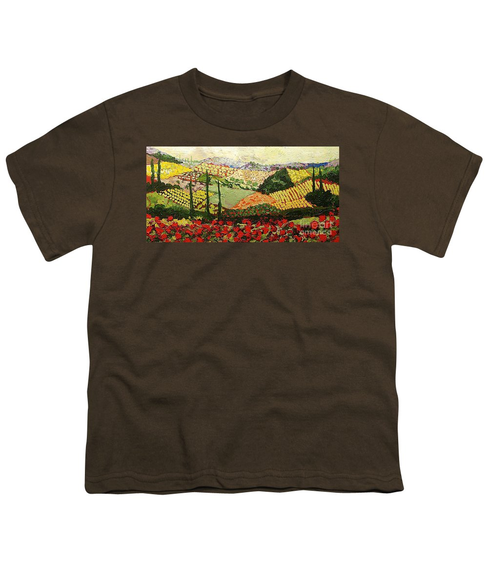 Landscape Youth T-Shirt featuring the painting Something Red by Allan P Friedlander