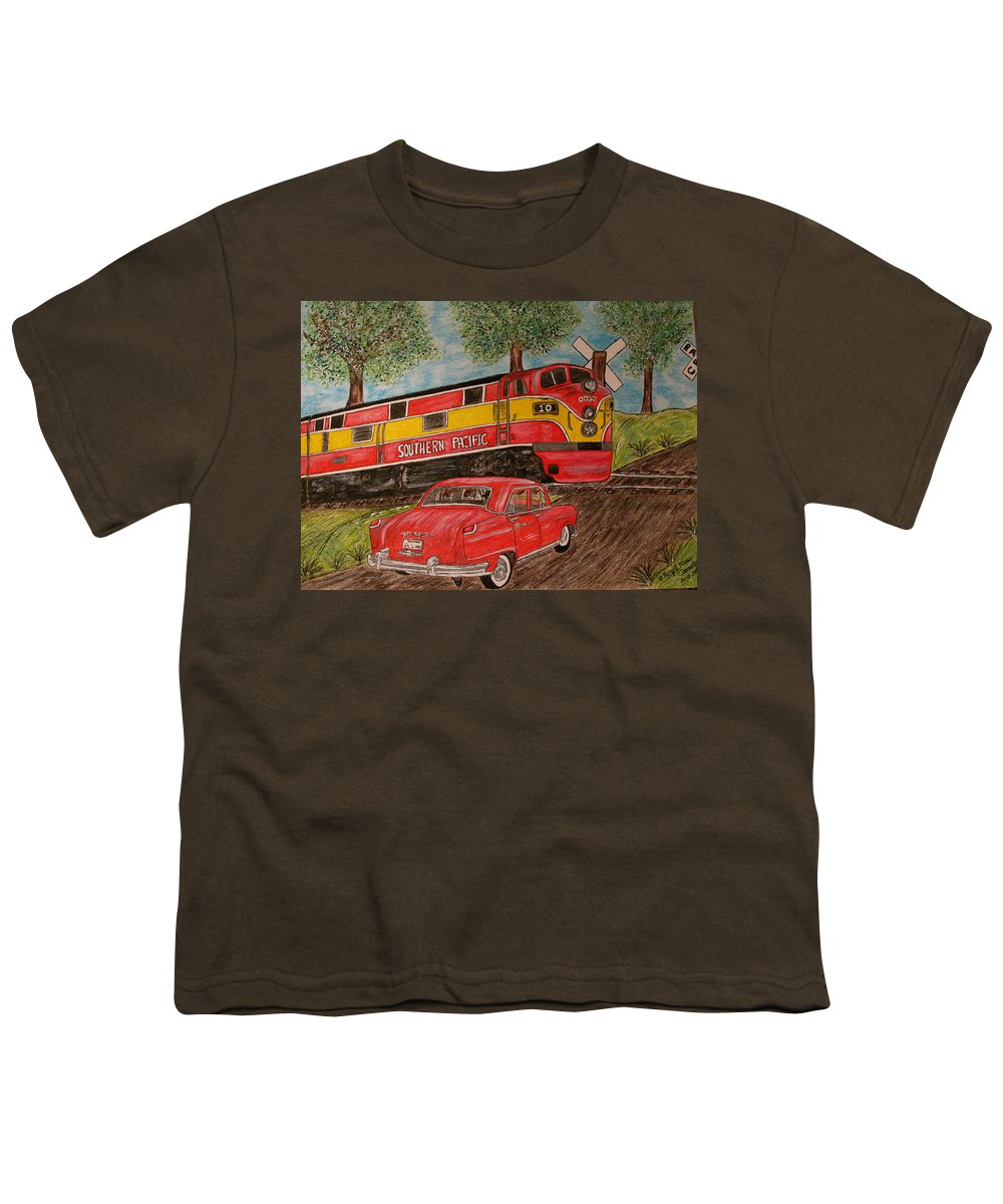 Southern Pacific Railroad Youth T-Shirt featuring the painting Southern Pacific Train 1951 Kaiser Frazer Car Rr Crossing by Kathy Marrs Chandler