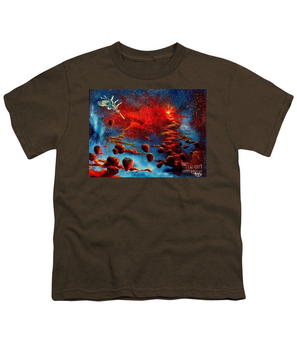 Nova Youth T-Shirt featuring the painting Starberry Nova Alien Excape by Murphy Elliott