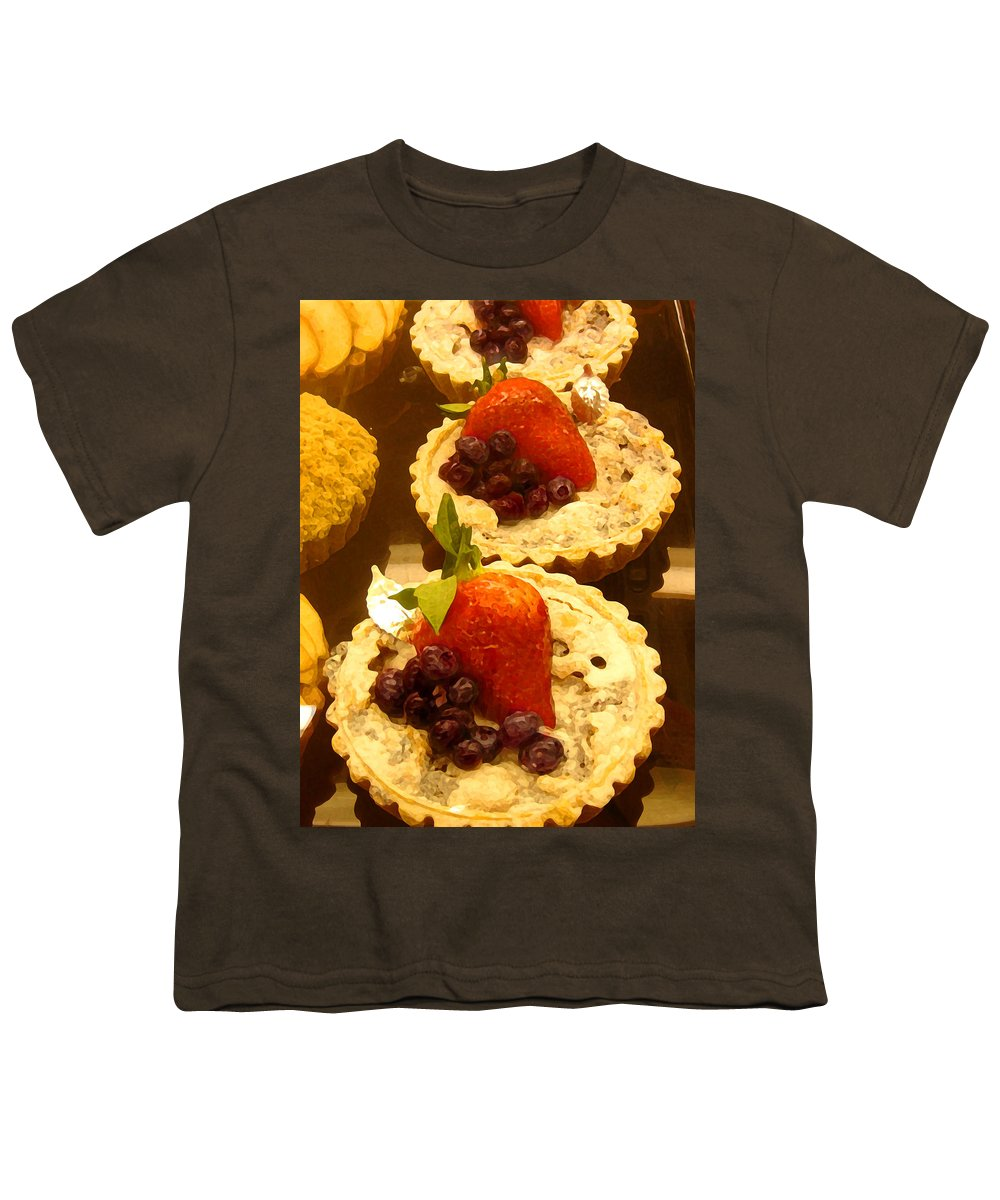 Food Youth T-Shirt featuring the painting Strawberry Blueberry Tarts by Amy Vangsgard