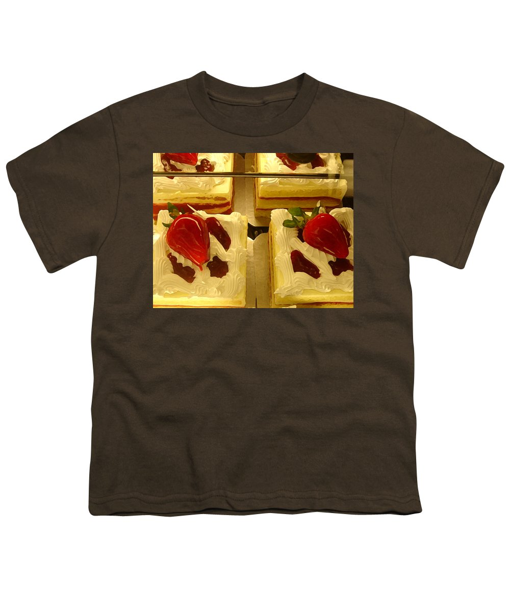 Kitchen Youth T-Shirt featuring the painting Strawberry Cakes by Amy Vangsgard