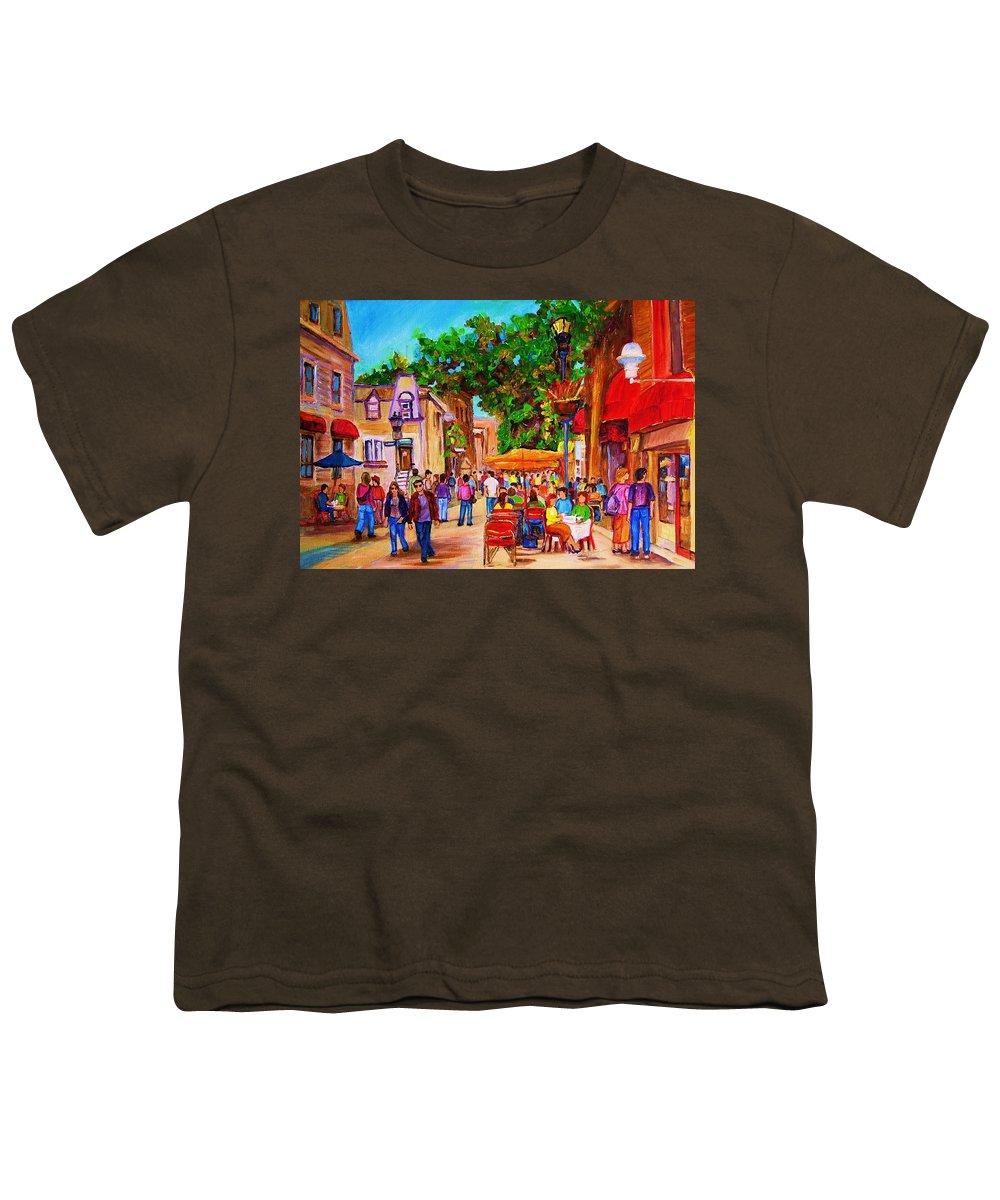 Summer Cafes Montreal Street Scenes Youth T-Shirt featuring the painting Summer Cafes by Carole Spandau