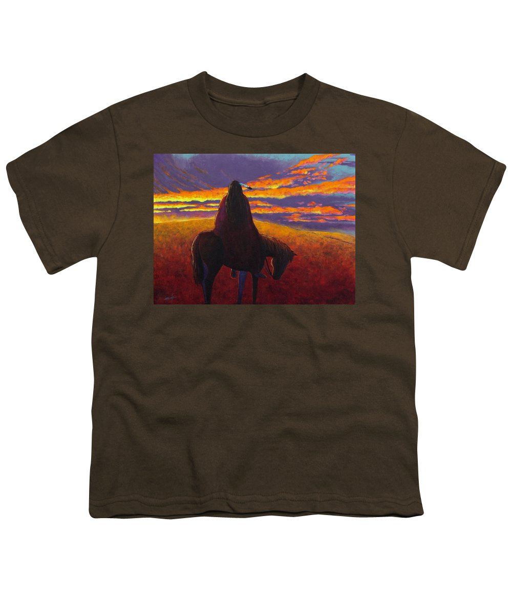 Native American Indian Youth T-Shirt featuring the painting Watching The Magic by Joe Triano