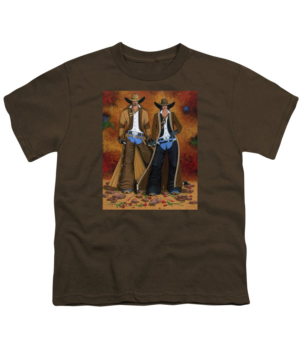 Cowgirl Youth T-Shirt featuring the painting Wine And Roses by Lance Headlee