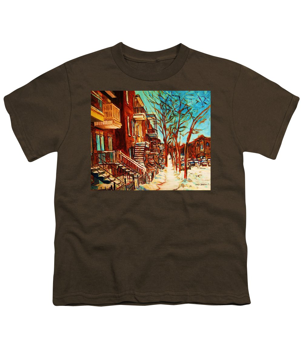 Verdun Paintings By Montreal Street Scene Artist Carole Spandau Youth T-Shirt featuring the painting Winter Staircase by Carole Spandau