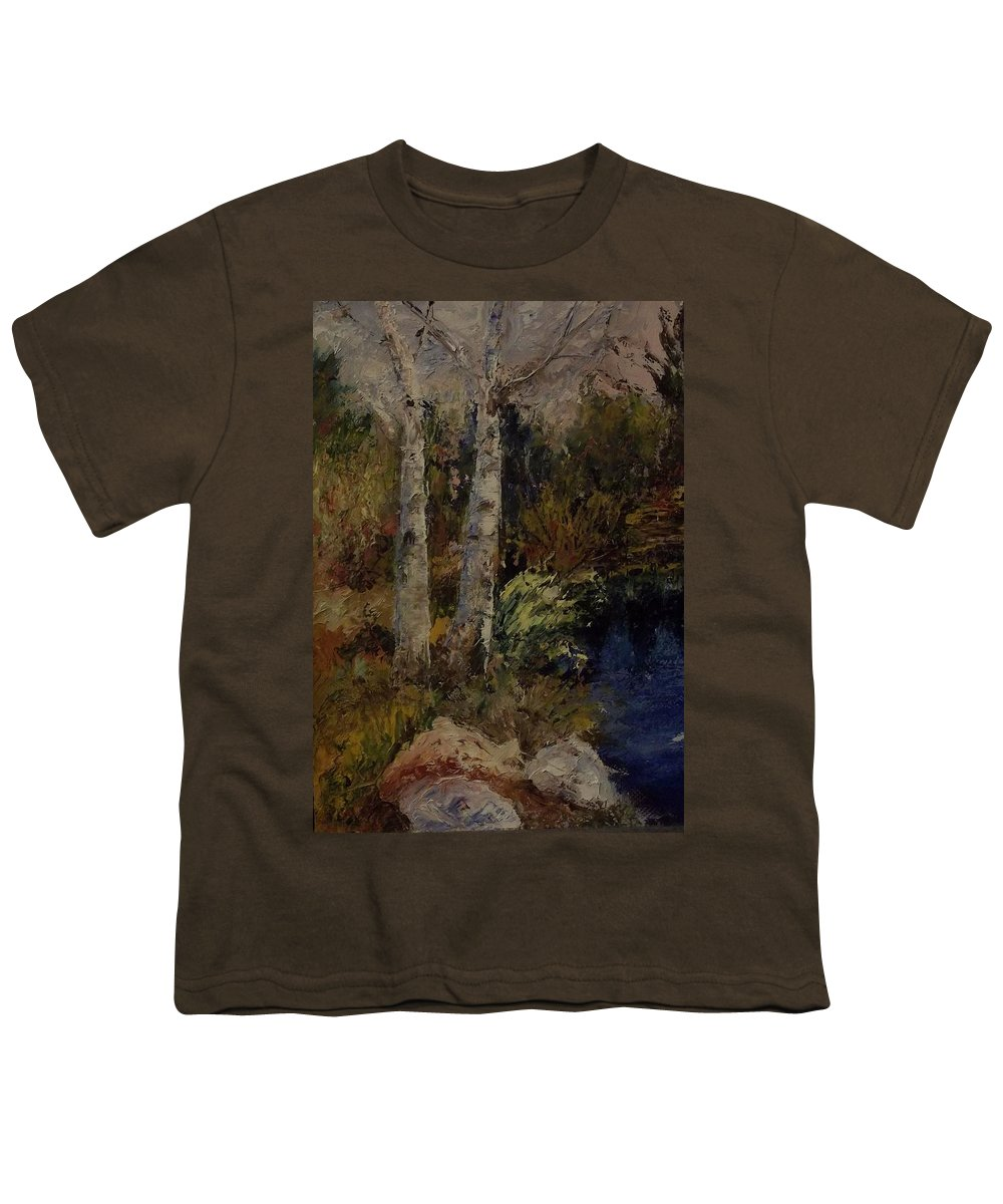 Landscape Youth T-Shirt featuring the painting Birch by Stephen King