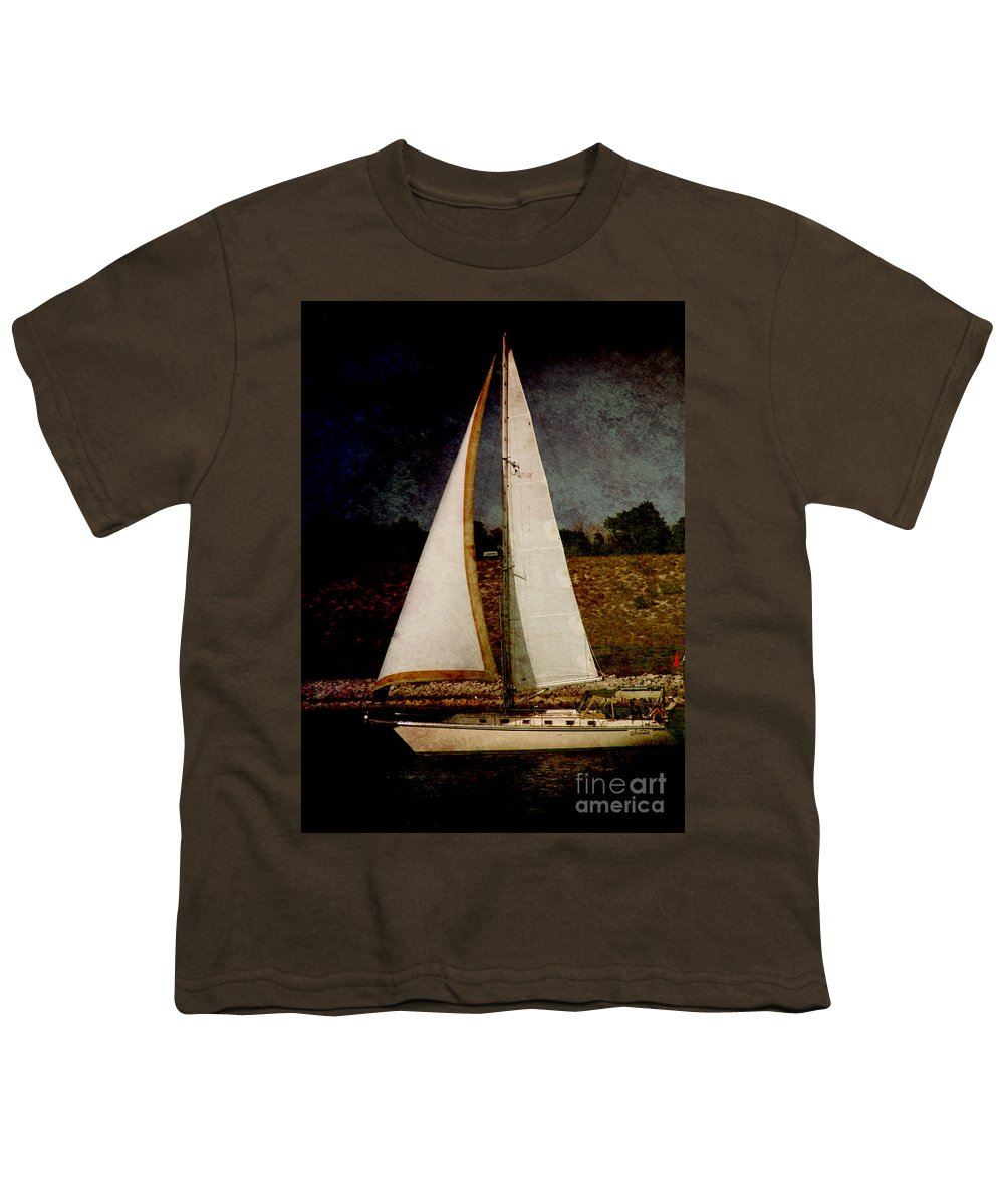 Boat Youth T-Shirt featuring the photograph La Paloma Blanca Boat by Susanne Van Hulst